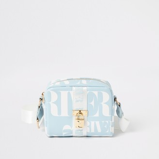 River Island Girls Blue RI lock front cross body bag
