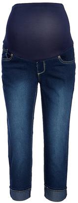 Times 2 Women's Capris DARK - Dark Roll-Cuff Over-Belly Capri Jeans