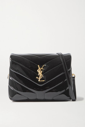 Saint Laurent Loulou Toy Mini Quilted Patent-leather Shoulder Bag - Black