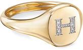 David Yurman Mini DY Initial H Pinky Ring in 18K Yellow Gold with Diamonds, Size 5