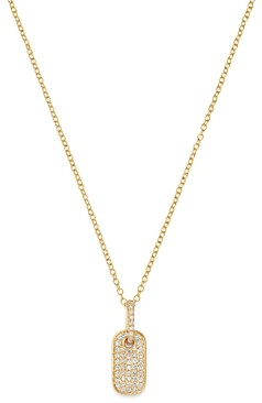 Bloomingdale's Diamond Dog Tag Pendant Necklace in 14K Yellow Gold - 100% Exclusive