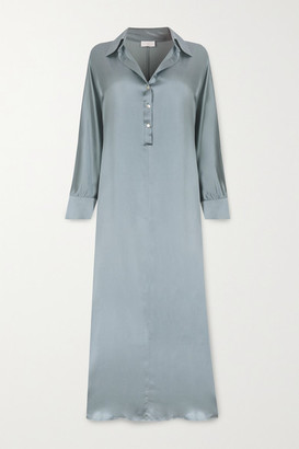 ASCENO Porto Silk-satin Maxi Dress - Light blue