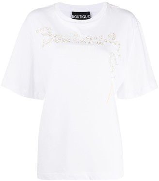 Boutique Moschino embellished logo print T-shirt