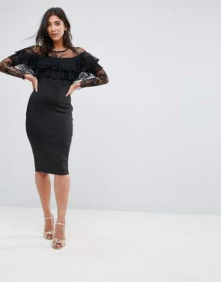 AX Paris Long Sleeve Overlay Midi Dress With Lace Detail-Black