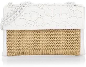 Nancy Gonzalez Medium Madison Crocodile-Trimmed Raffia Shoulder Bag