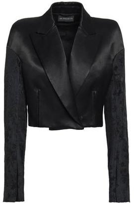 Ann Demeulemeester Cropped Jacquard-paneled Cotton-blend Satin-twill Blazer