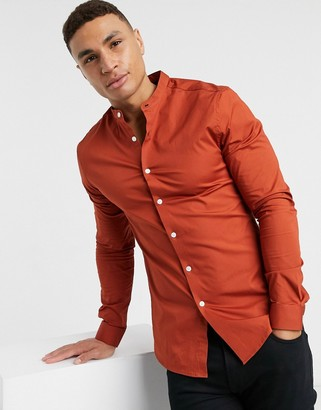 ASOS DESIGN stretch skinny fit shirt in rust with band collar