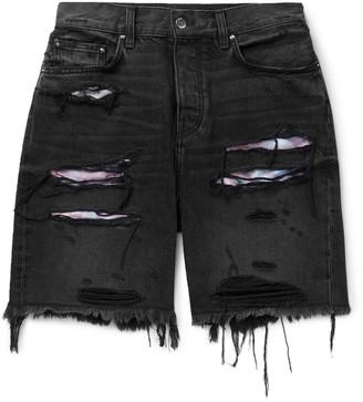 Amiri Thrasher Panelled Slim-Fit Distressed Denim Shorts