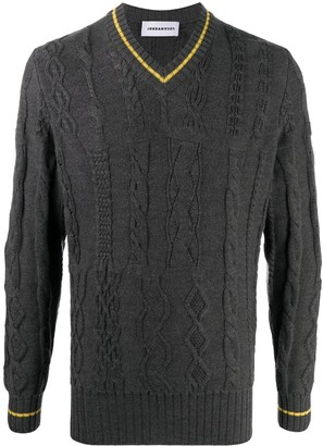 Jordan Luca cable-knit V-neck jumper