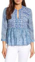 Lucky Brand Embroidered Georgette Babydoll Top