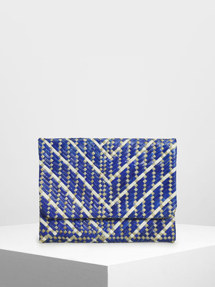 Charles & Keith Purpose Collection - Handwoven Banig Front Flap Clutch