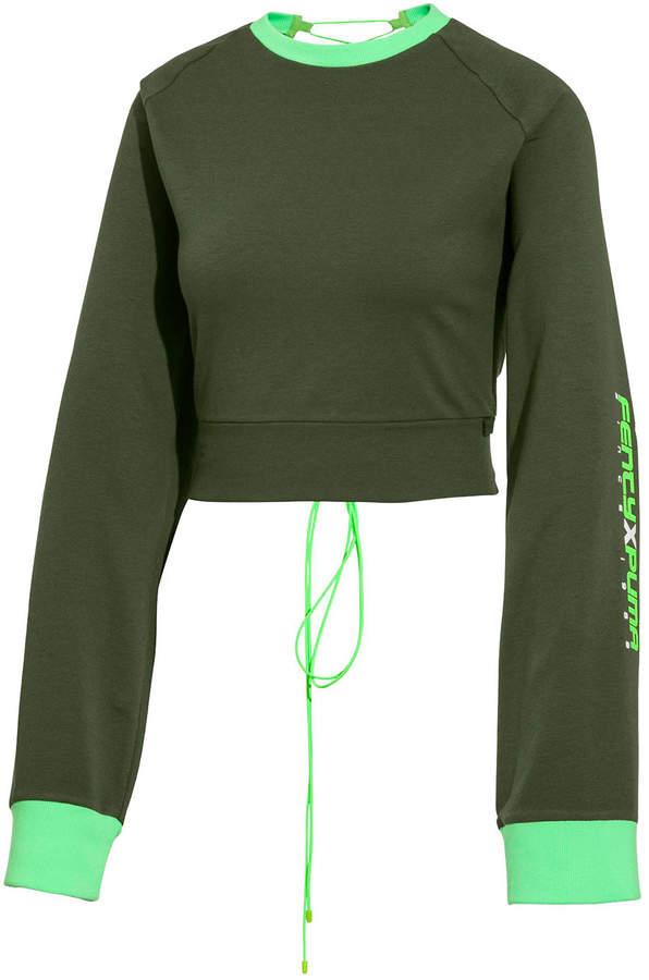 buy online bbdf6 a8cc8 Laced-Back Crewneck Crop Sweatshirt