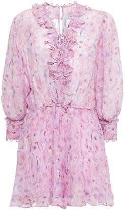 IRO Joyce Lace-up Ruffled Printed Georgette Mini Dress