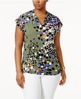 Anne Klein Plus Size Pleat-Neck Printed Top