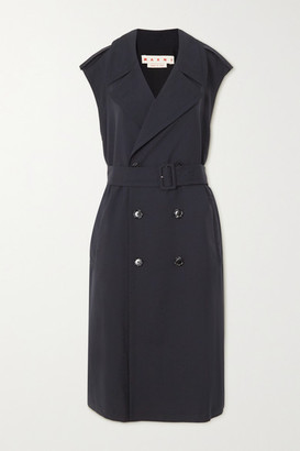 Marni Belted Double-breasted Wool-gabardine Trench Coat - Navy