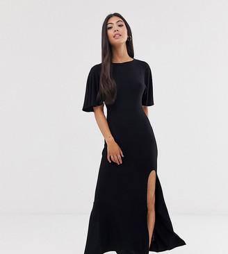 Asos DESIGN Petite flutter sleeve backless maxi dress with high split-Black