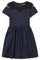 Tommy Hilfiger Navy Lace Panelled Belt Dress