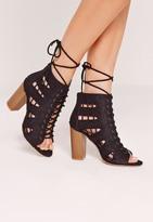 Missguided Side Stitch Block Heeled Sandals Black