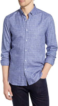 French Connection Slim Fit Windowpane Check Button-Down Shirt
