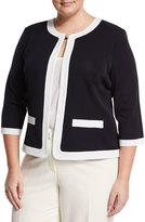 Ming Wang Contrast-Trim Knit Jacket, Navy/White, Plus Size