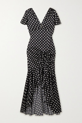 Caroline Constas Lucille Ruffled Polka-dot Silk-blend Satin Midi Dress - Black