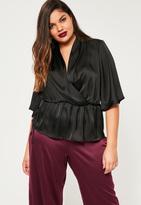 Missguided Plus Size Black Satin Wrap Short Sleeve Blouse