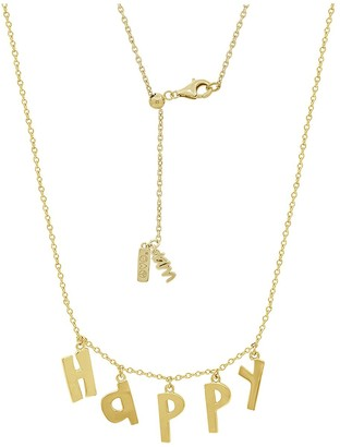 Peace Love World Happy Initial Dangle Necklace,14K Clad