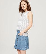 LOFT Button Down Denim Skirt