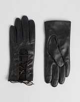 Asos Leather Lace up Gloves With Touch Screen