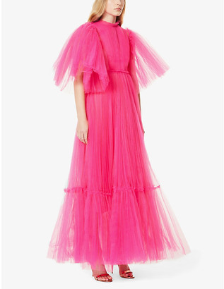 Huishan Zhang January ruffle-trimmed tulle gown