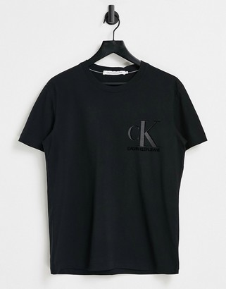 Calvin Klein Jeans flock tonal logo front and back print t-shirt in black