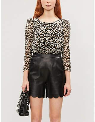 Claudie Pierlot Leopard-print sheer crepe blouse