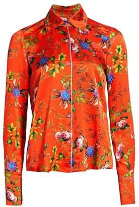 Adriana Iglesias June Floral Silk Pajama Blouse