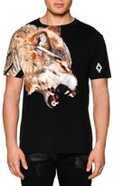 Marcelo Burlon County of Milan Wolf-Print Short-Sleeve Graphic Tee, Black Multi
