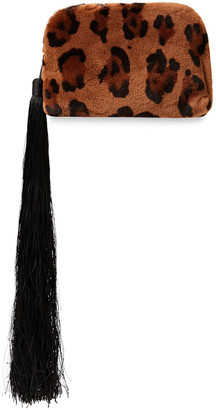 The Row Wristlet Mini Tasseled Leopard-print Shearling Clutch