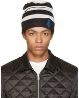 Raf Simons White and Black Striped Hand Beanie