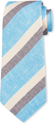 Kiton Men's Large Double-Stripe Silk Tie