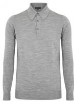 John Smedley Dorset Silver Fine Knit Merino Wool Polo Shirt