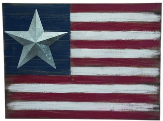 Transpac Wood White 4th of July Americana Weathered Flag Wall Decor