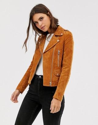 Goosecraft suede biker jacket-Brown