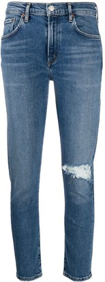 AGOLDE Ripped Mid-Rise Cropped Jeans