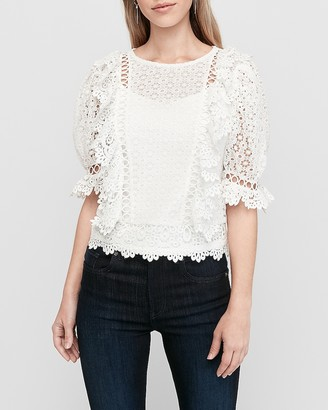 Express Floral Lace Crew Neck Top