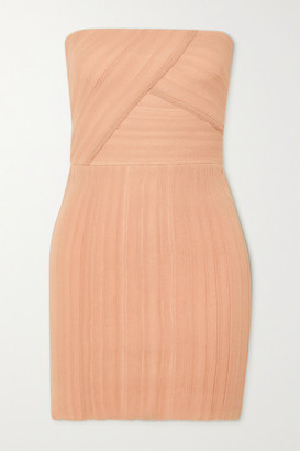 Herve Leger Strapless Crepon And Bandage Mini Dress - Blush