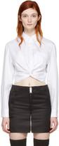 Alexander Wang White Twist Long Sleeve Cropped Shirt