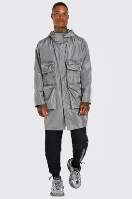 boohoo Mens Grey Multi Pocket Lightweight Parka, Grey