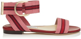 Jimmy Choo BREANNE FLAT Red Mix Nappa Leather and Tape Flat Sandal