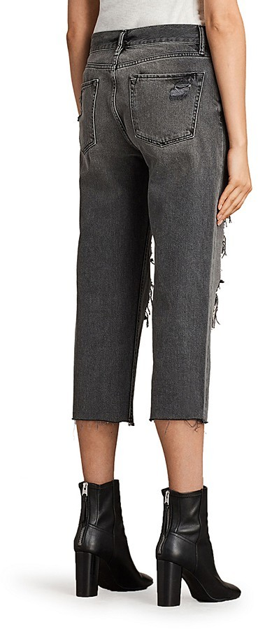 AllSaints Ivy Distressed Boyfriend Jeans in Gray