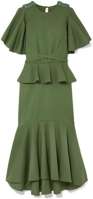 Johanna Ortiz Follow The Drums Embellished Cotton-blend Cady Peplum Midi Dress