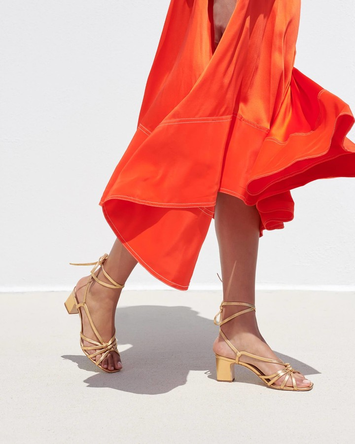 Thumbnail for your product : Loeffler Randall Libby Knotted Wrap Sandal Gold
