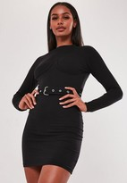Missguided High Neck Bust Cup Belted Mini Dress